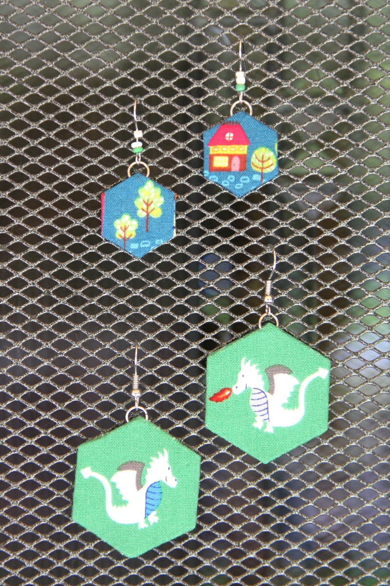 Fabric Hexagon Earrings from Crafty Staci
