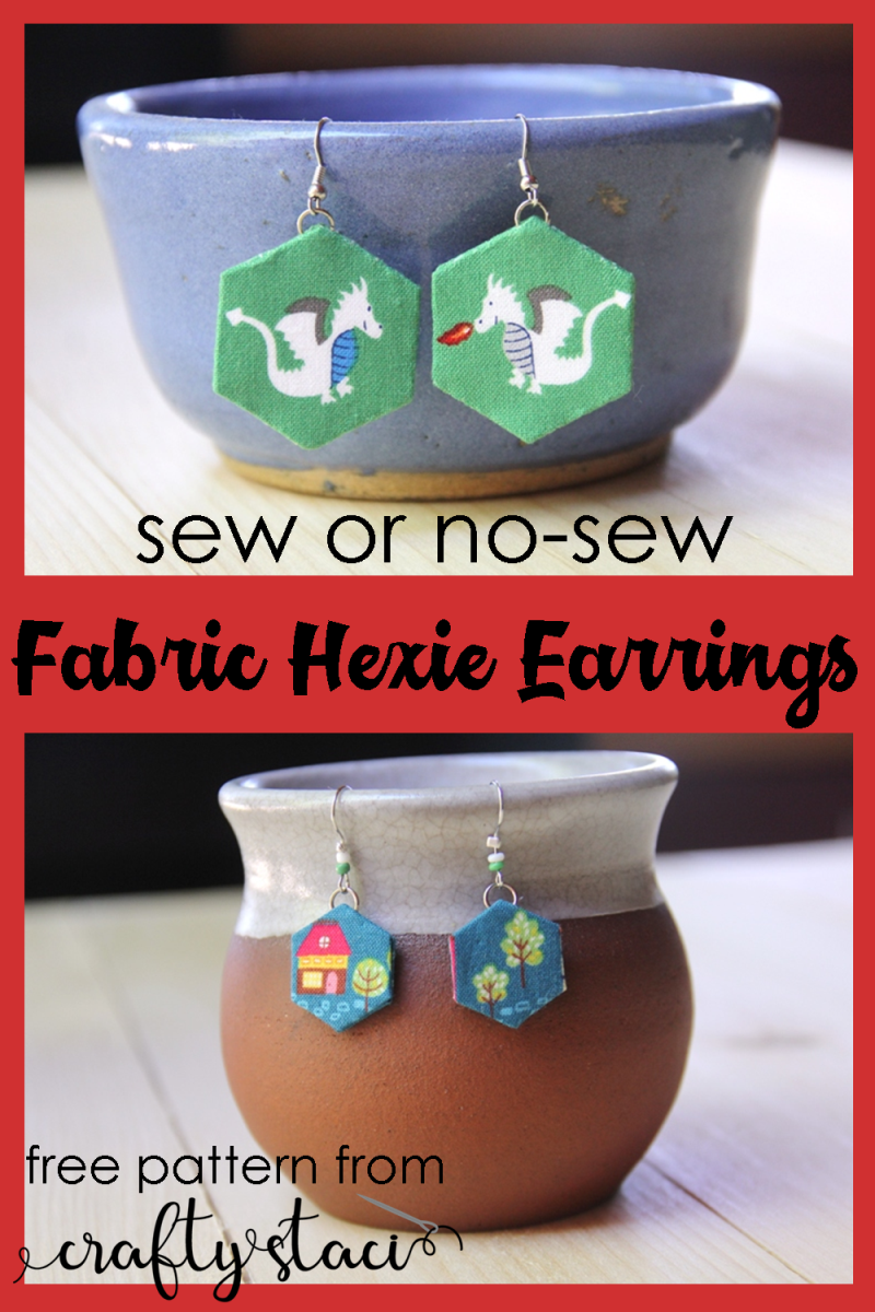 Sew or No-Sew Fabric Hexie Earrings - free pattern from craftystaci.com #diyearrings #fabricearrings #mothersdaygifts #diymothersday #giftstomakeformom