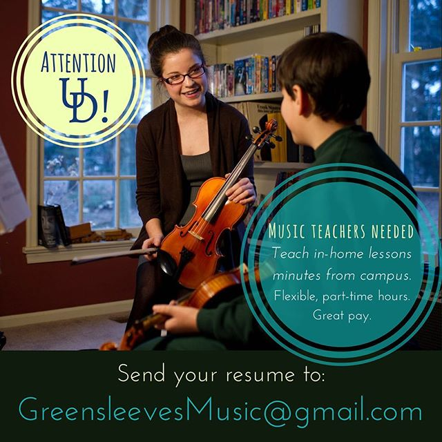 Attention #UDel students: we're hiring! Teach in-home music lessons just minutes from campus. Musicians of all instruments invited to apply. Email resumes to: GreensleevesMusic@gmail.com  #udel #udelaware #udelmusic #bluehens #universityofdelaware #musicianlife #udellife #teamsleeves