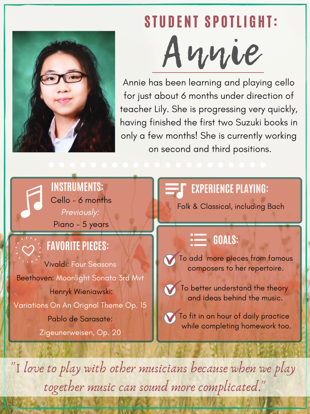 Cello Student Annie