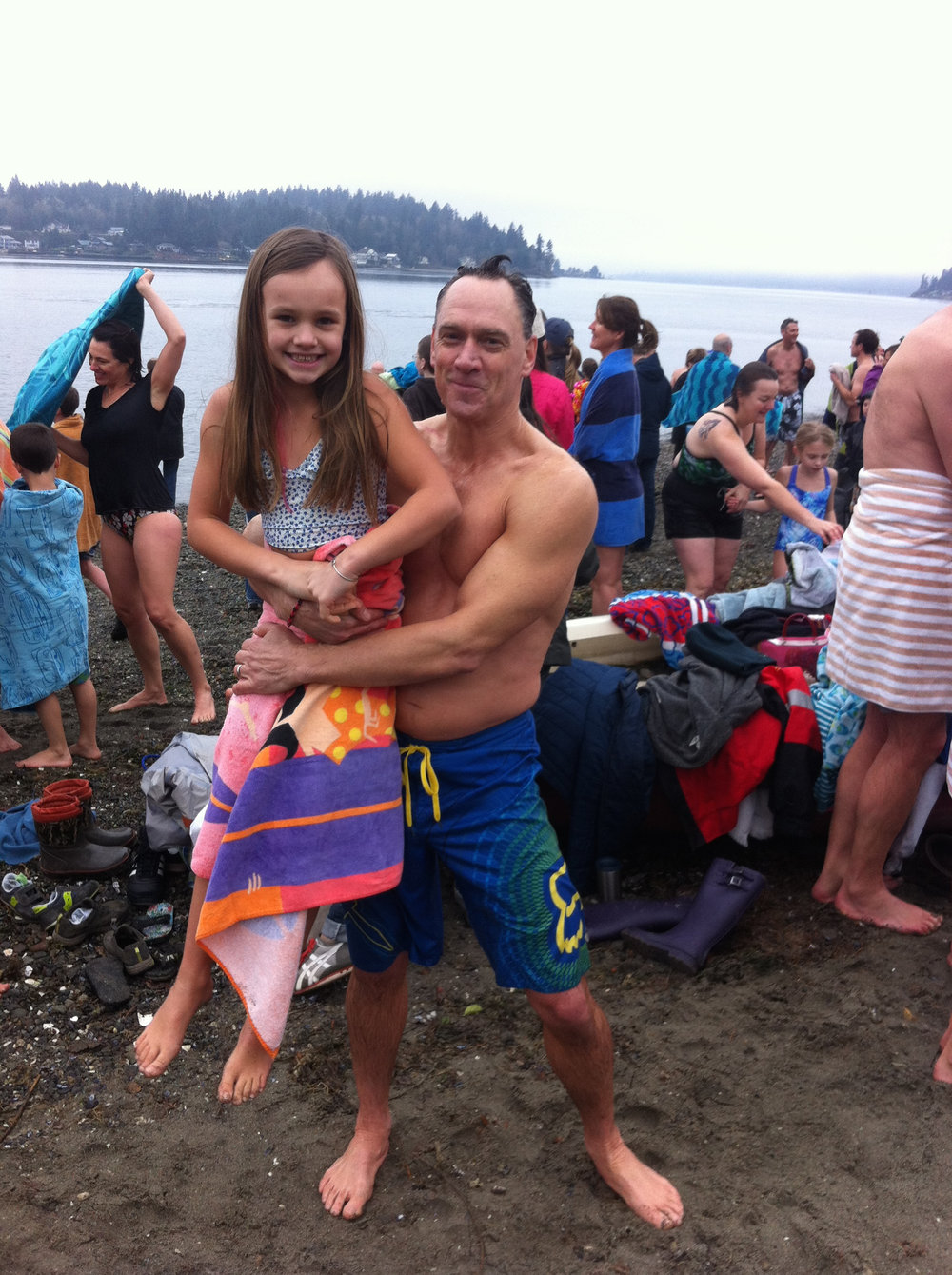 My crazy husband and brave daughter celebrate their plunge. Please notice that my daughter's hair is bone dry. Perhaps she is wise and takes after me....