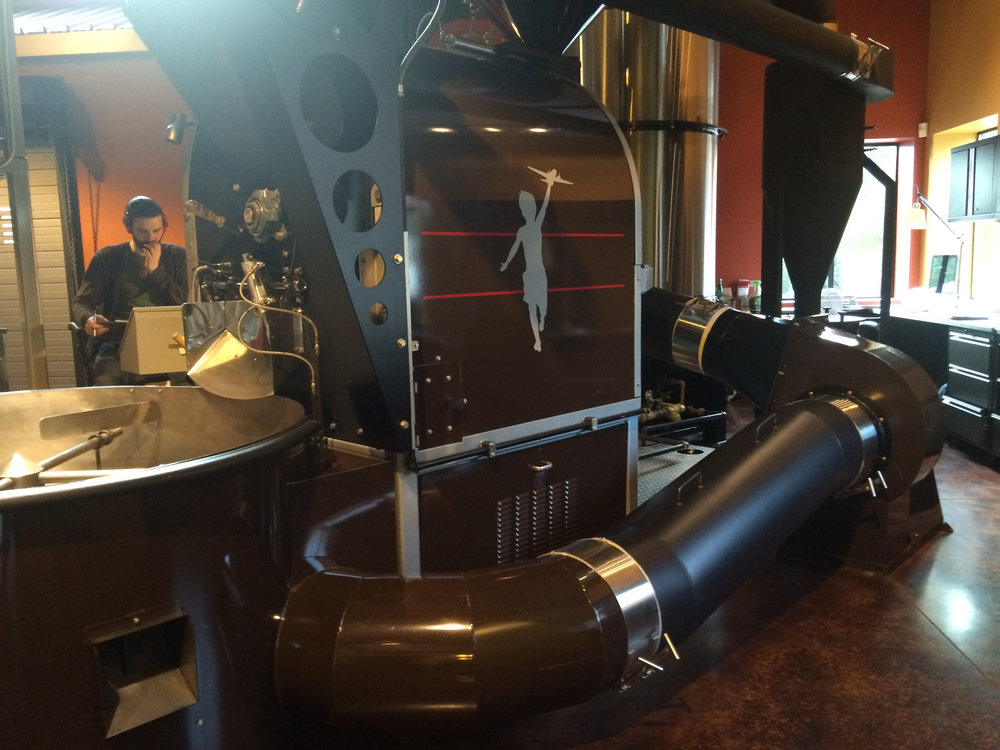 Storyville's big roasting machine. It looks just like something out of Willy Wonka to me.