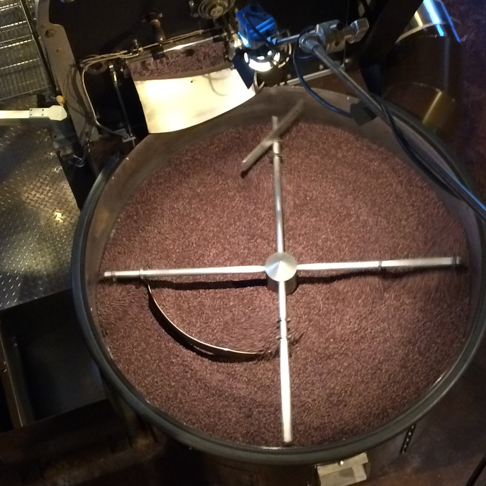 Post-roast, this machine stirs the beans round and round - weirdly soothing to watch.