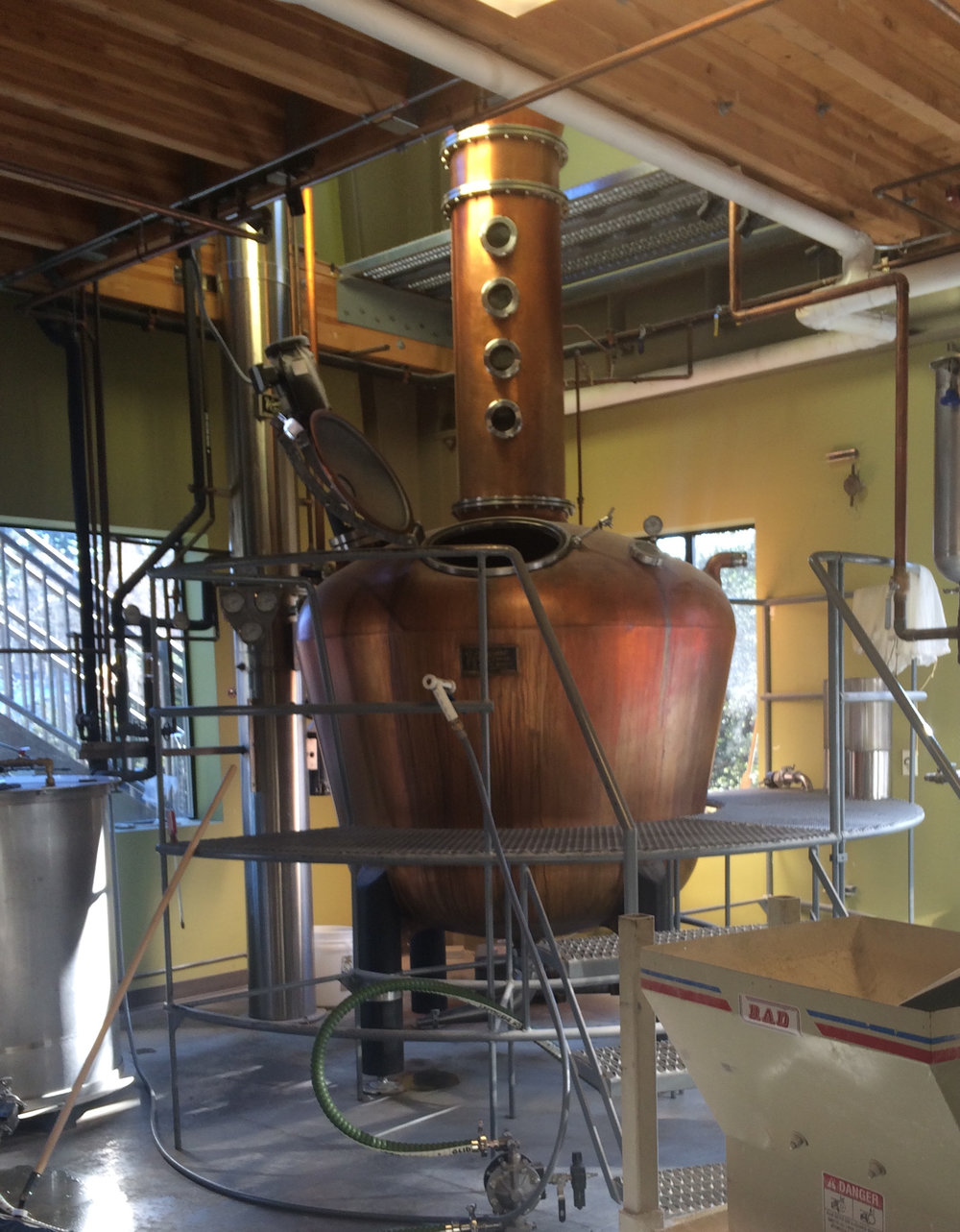 Part of the on-site distilling process. I think it looks like a giant whiskey bottle.