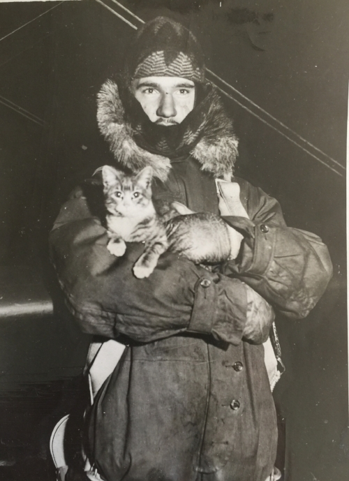 Johnny Starr and Cat. (Photo by Acme Newspictures, 12/17/1931. Photographer unknown. Scanned from a print in my personal collection.)