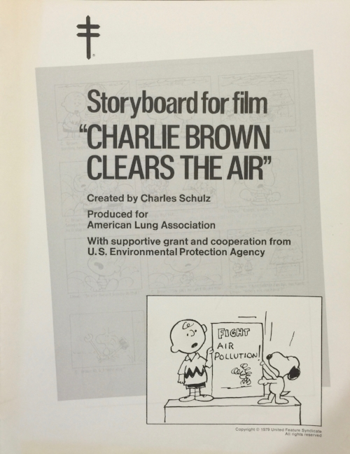 "Charles M. Schultz, ""Storyboard for film 'Charlie Brown Clears the Air'."" Source: Box 37, Collection 1675: ""South Coast Air Quality Management District Records, ca. 1955-1983,"" Archives and Special Collections, University of California, Los Angeles."