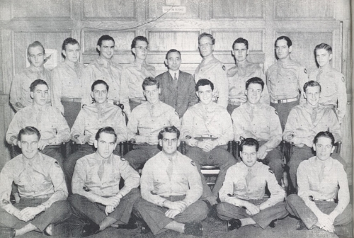 William H. Rehnquist (middle row, second from right) was part of Flight D-2 when he studied math and physics in a pre-meteorology program at Denison College. Image Source: Tattoo, a yearbook by the 62nd Army Air Force Technical Training Detachment (Denison College, 1944). From my personal collection.