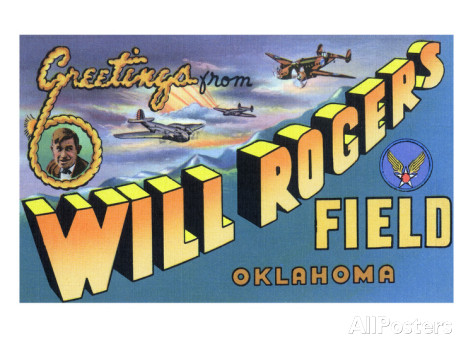 A graphic similar to the World War II-era postcards available for sale near Rehnquist's first post at Will Rogers Field, Oklahoma.