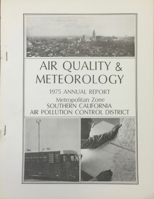 "Would a mobile lab, isobars and the city skyline persuade you that air pollution control worked? Image Source: Southern California Air Pollution Control District, Air Quality and Meteorology: 1975 Annual Report (Box 47, Collection 1675: ""South Coast Air Quality Management District Records, ca. 1955-1983,"" Archives and Special Collections, University of California, Los Angeles)."