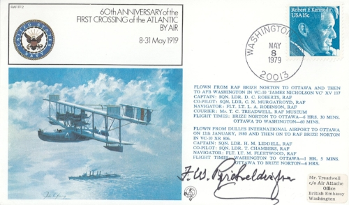 A 1979 postal cachet commemorating the first completed transatlantic flight. Signed by Francis W. Reichelderfer. From my personal collection.