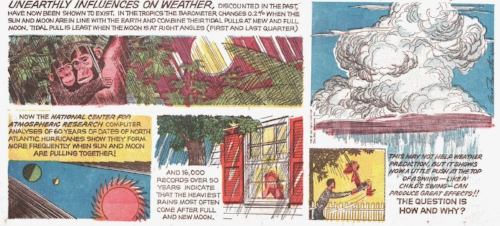 """Unearthly Influences on Weather,""  Our New Age.  Text by Athelstan Spilhaus, drawn by Gene Fawcette.  First published February 26, 1967. Image from the collection of Ger Apeldoorn, posted at  The Fabulous Fifties ."