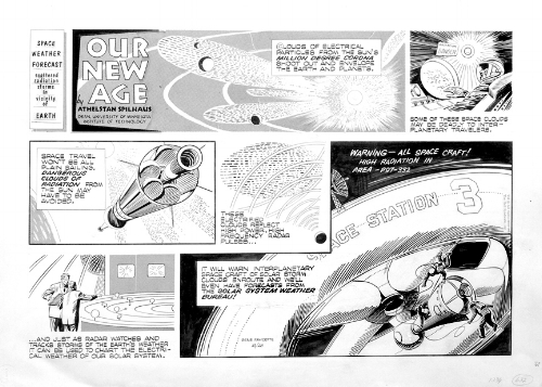 """Space Weather Forecast,""  Our New Age . Text by Athelstan Spilhaus, drawn by Gene Fawcette. Dated 10/28, year unknown. Published online at  ComicArtFans.com  by Hart Rieckhof."