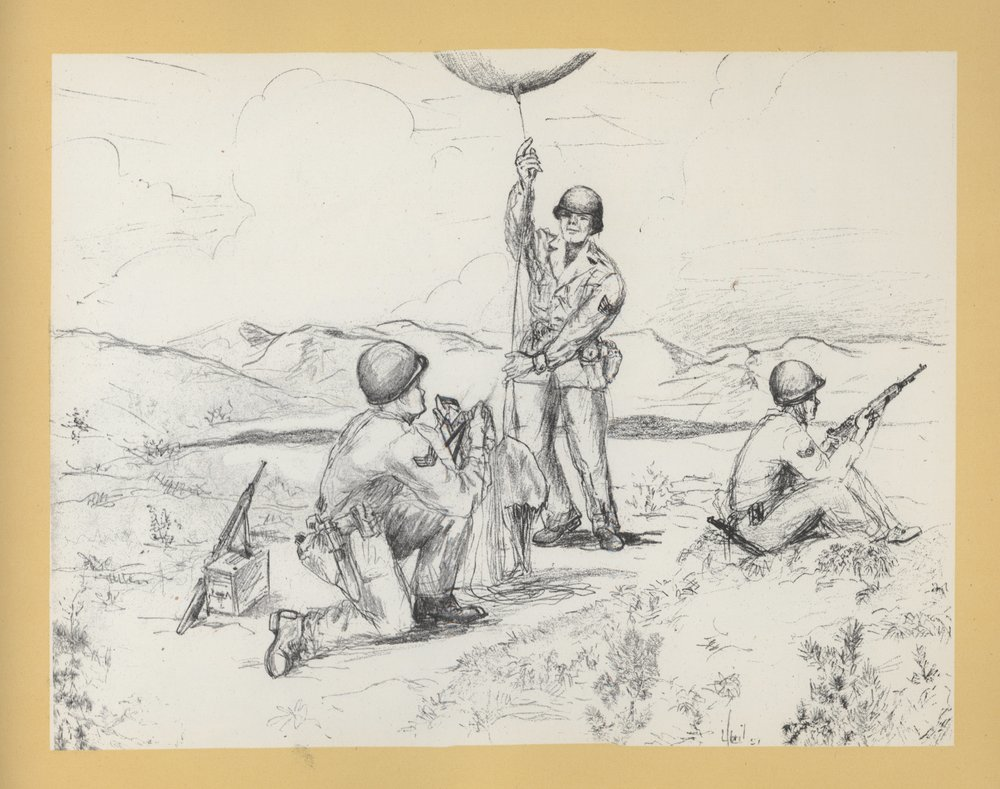"Original Caption: ""Radiosonde men of the 20th take a balloon run while under enemy sniper fire."""