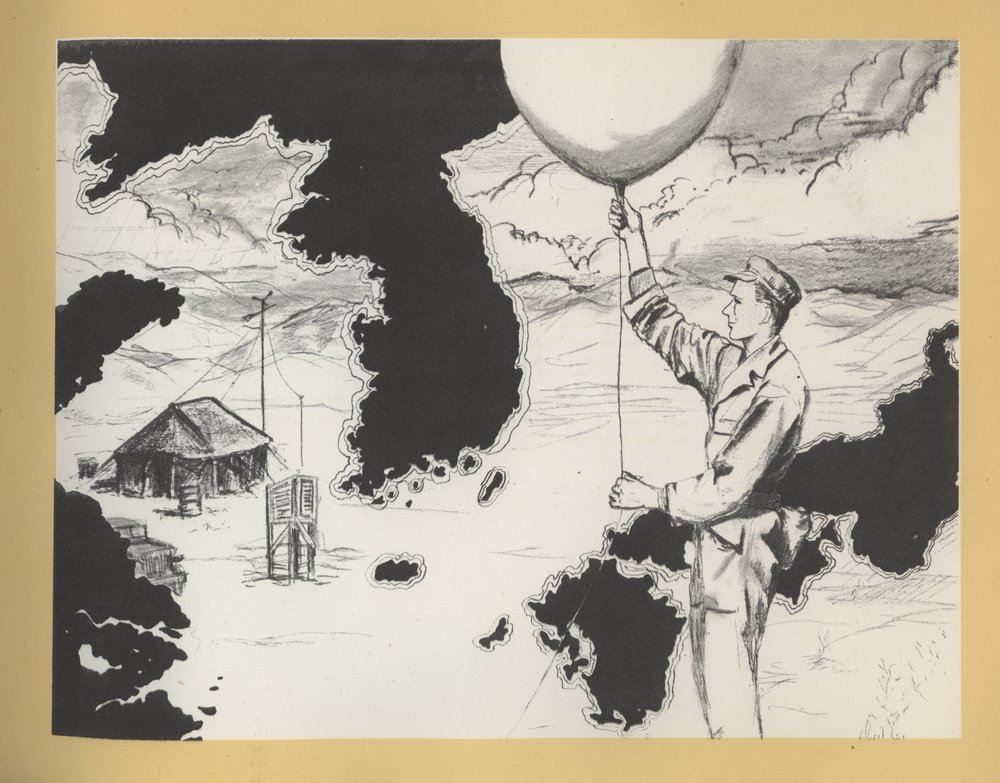 "Image from a sketchbook commemorating  service during the Korean War. Abril, illustrator (no first name listed).  The 20th Weather Sqdn in Korea  (1951).   NOAA Central Library, Rare Books Collection. Images digitized as part of the  NOAA Photo Library , and used under a  Creative Commons License . Original Caption: ""The 20th Weather Squadron came into Korea with the first Air Force contingent and served from Taejon back to the Pusan Perimeter and forward again to within sight of the Yalu River. It furnished weather service to all United Nations forces and operated from one end of Korea to the other, from air bases in the rear to enemy-facing forward positions."""