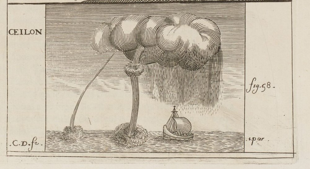 "A ""siphon,"" the first published image of waterspout in Europe. Drawn by Balthasar de Monconys, based his observation of 31 December, 1648."