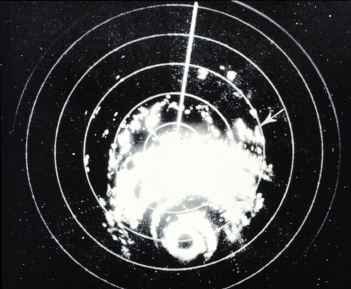 Image of the radarscope at Galveston, as Hurricane Carla approached the Texas coast, September 10, 1961. Digitized by the NOAA Photolibrary. Originally published in Monthly Weather Review, December 1962, p. 515.
