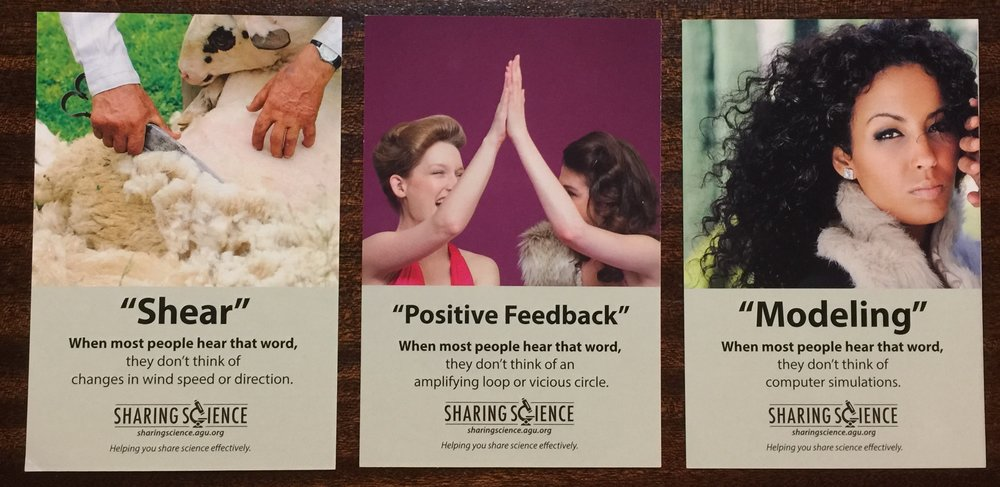 These reminder cards give you a sense of the humor that Olivia Ambroglio and Shane Hanlon bring to helping scientists connect with audiences. Created by the AGU's Sharing Science program.