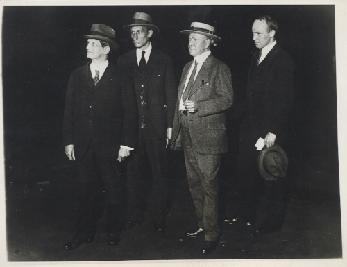Rossby's meteorology was often intertwined with aviation. Rossby (right) was among the Weather Bureau meteorologists who assisted Navy flyer Richard Byrd prepare for a transatlantic flight in June, 1927. Photograph taken by Fotograms news service; scanned from a print in Roger Turner's personal collection.