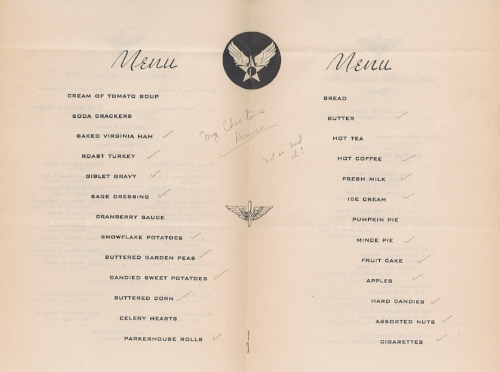 """The menu for Christmas Dinner at Chanute Field in Illinois, 1943. Meteorological trainee Roger F. Jarvis marked what he ate, noting drolly """"Not so bad eh!"""""""