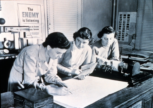 Unidentified women meteorologists plot an upper air chart, c. 1944.  NOAA Photo Library