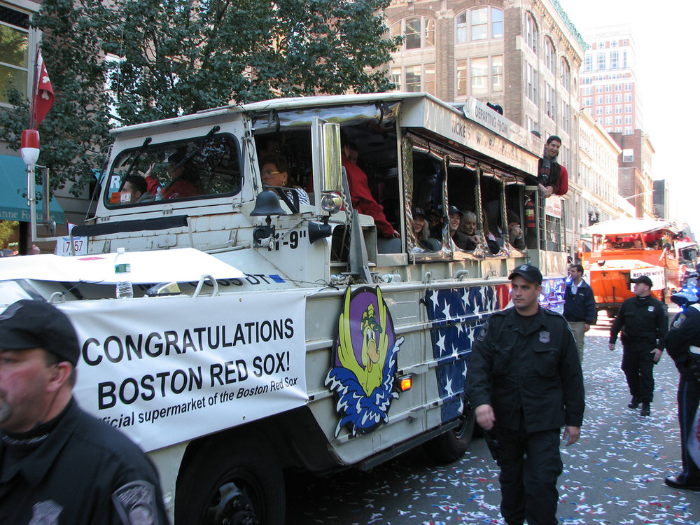 Amphibious vehicles were deployed when the Boston area was disrupted by a significant celebration in October 2007.  Photo  by Devin Ford, used under a  Creative Commons CC BY-NC-ND 2.0   license .