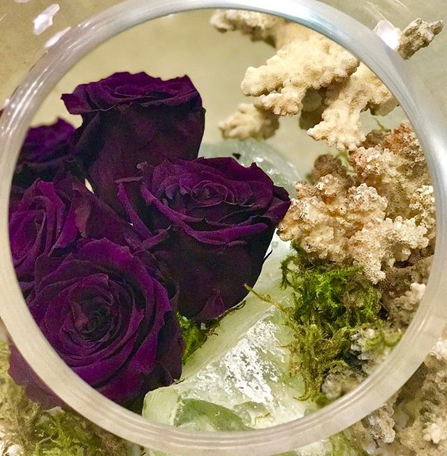 Custom arrangement of Fleurever Roses in a Globe  Terrarium with Glass Rocks and Coral.  These preserved roses last for at least a year when properly cared for. 🌹  Call 780-994-7673 to order. 🌸