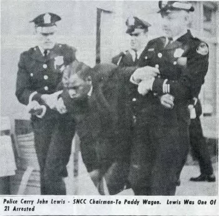 John Lewis being arrested while trying to vote