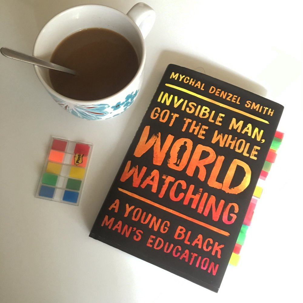 Invisible Man Got the Whole World Watching Cover with coffee and book tabs.JPG
