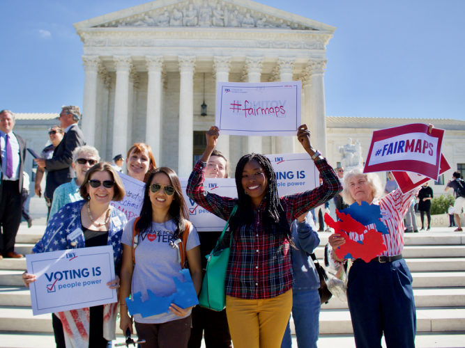 LWV and OneVirginia2021 protest in favor of redistricting reform in front of the US Supreme Court at the Rally to End Partisan Gerrymandering in October, 2017, during the  Watch the video on C-Span here. Watch Arnold Schwarzenegger speak at the rally here.