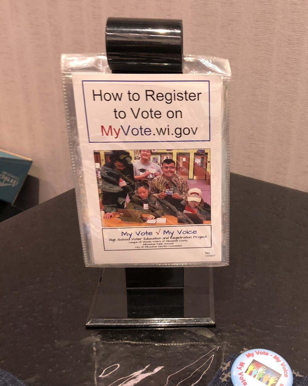 A stand put in every Milwaukee High School Counselors' office about high school voter registration