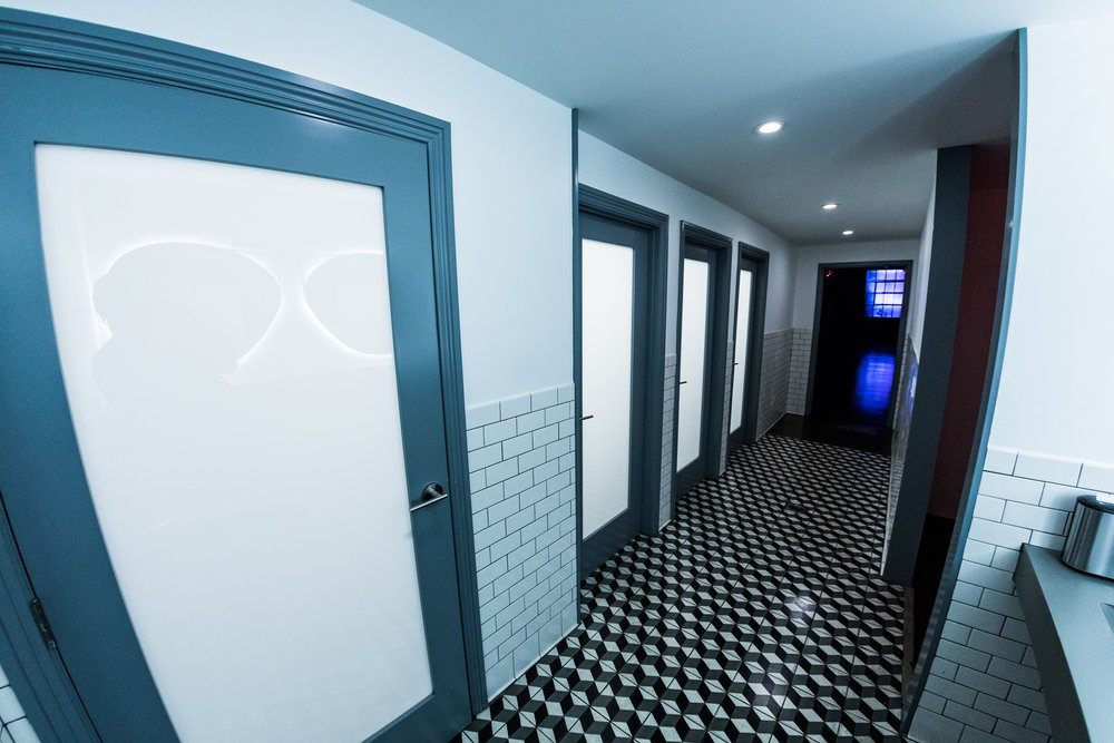 Unisex Bathrooms - Four private unisex bathroom stalls which includes one ADA stall. These private stalls could also be useful during film and photography shoots as priavte dressing rooms.