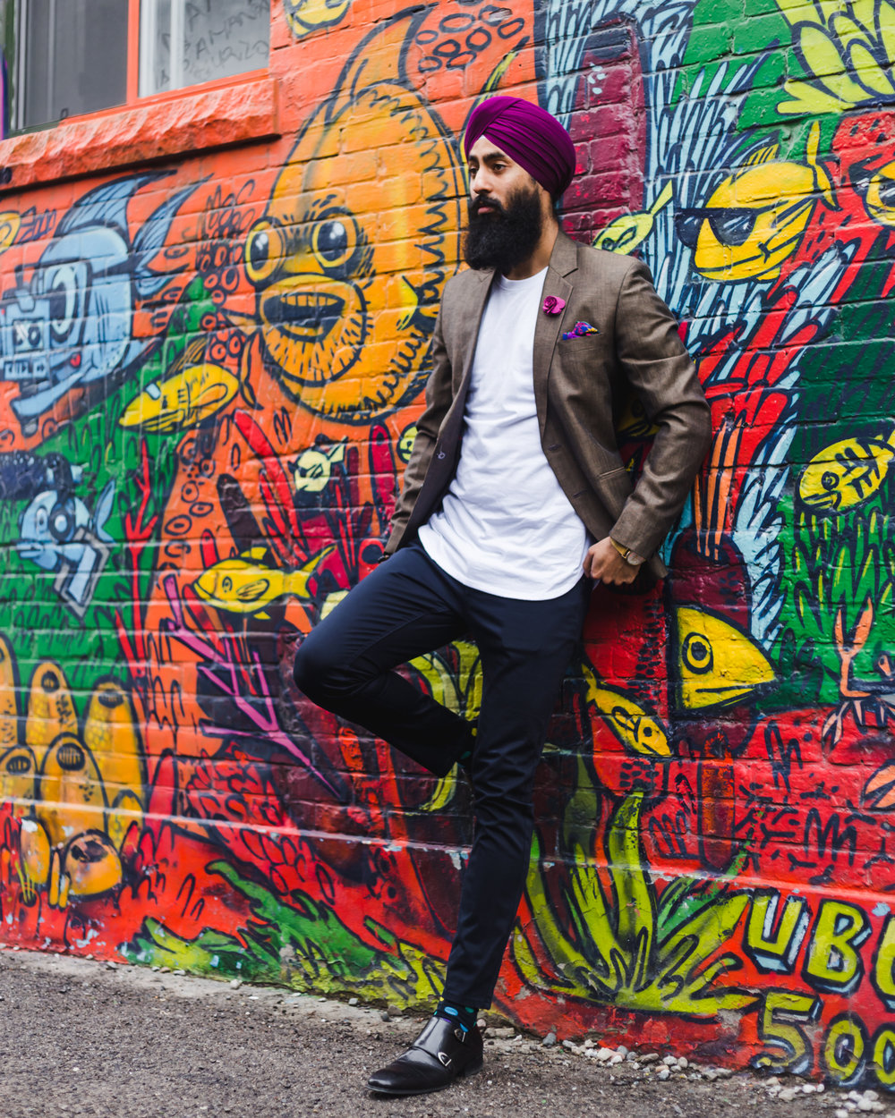 Styled By Harj mixing street and formal with his staple splat of coloured accessories and turban.