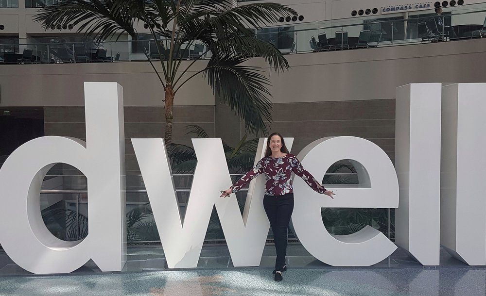 Me striking a pose at the entrance to Dwell on Design!