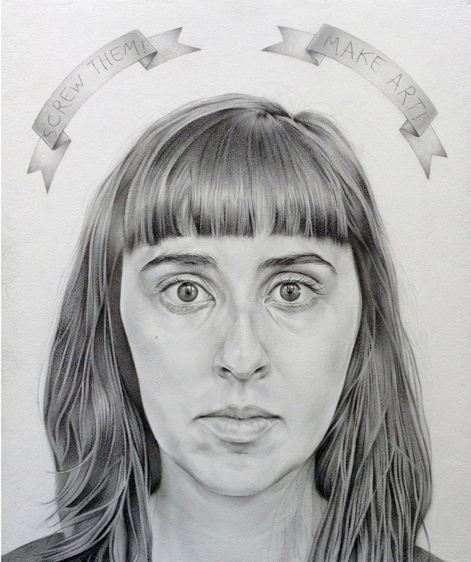 Self-portrait with Banderole | Graphite on panel | 16x12"
