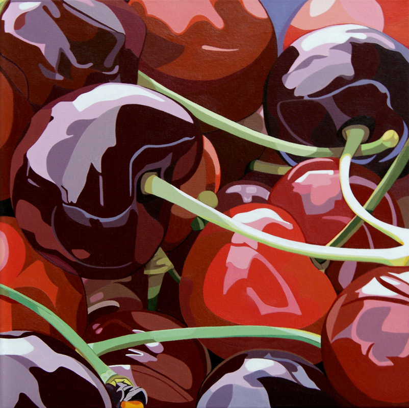 "Cherries | Acrylic on canvas | 16x16"" | 2010"