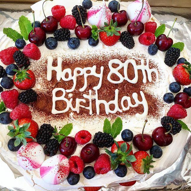 A super massive two-layer pavlova cake for a super special occasion! 🎉 #pavlova #lemonpavlova #summerfruits #meringues #handmade #baking #pretty #cakes #berries🍓 #80thbirthday #birthdayparty #instafood