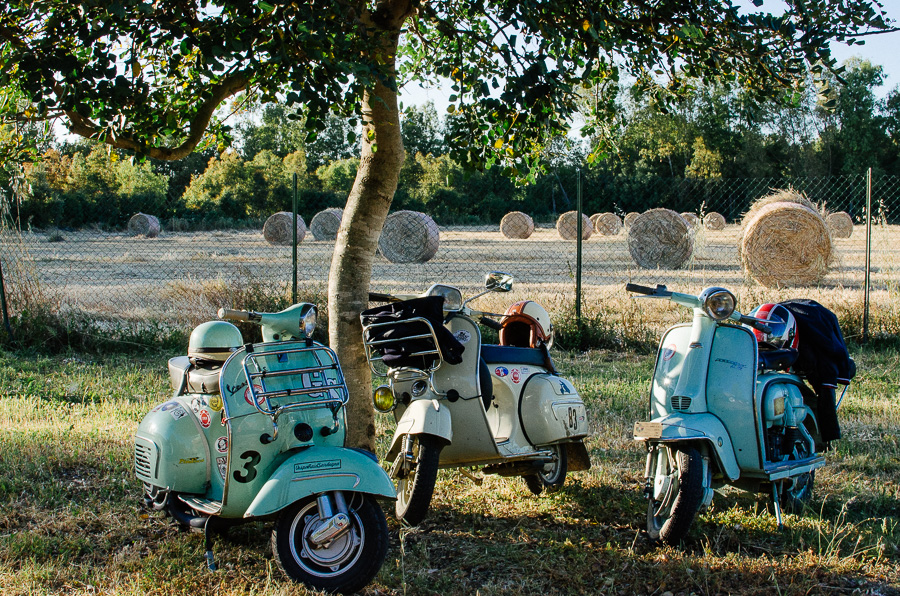 Pastel vespas and hay bales