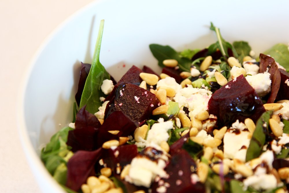 Favourite beetroot and feta salad with pine nuts and balsamic dressing