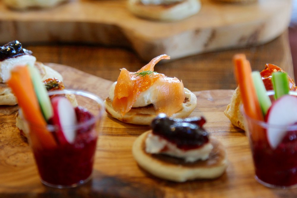 Smoked salmon and goats cheese and cranberry blinis