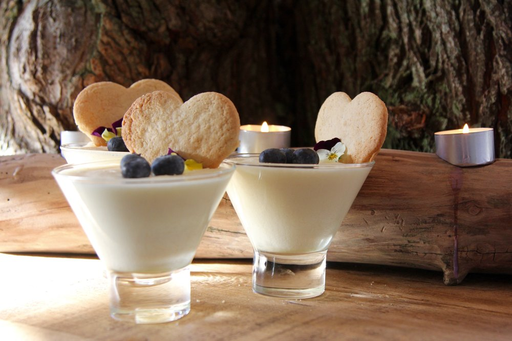 Lovely lemon mousse with heart shaped ginger snap biscuits