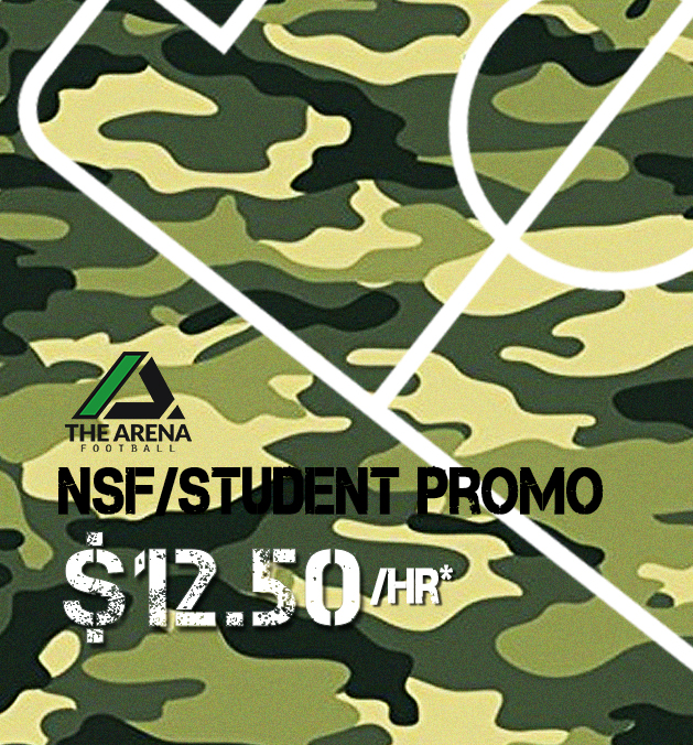 Pays to be a Student/NSF at Arena Football - $12.50/hour* between 9am-5pm weekdays on our 5-a-side pitches.Bookings will be in 2-hourly slotsTerms & ConditionsThe promotion is at $12.50/hour for 2 hours of field usage.Valid only for Full-time students and NSFs. Kindly bring along a photo ID for verification.Student or NSF making the booking must be present in the playing group.Bookings have to start and end between 9am and 5pm. Normal rates apply thereafter.Promotion is not available on Public Holidays and Weekends.All bookings must be made at The Arena reception at 48 Woodleigh Park (PUB Recreation Club) Singapore 357844.Phone/Whatsapp/SMS/Email requests and bookings will unfortunately not be entertained.Payment must be made before commencement of the game.Promo is not valid for events, tournaments & other commercial uses. For such requests, please contact our events team at events@thearenasg.com for more info.