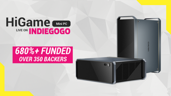 H  iGame by CHUWI: Live now on Indiegogo and has raised over $370,000 which is over 750% of their original goal!  Meet HiGame, the most powerful mini PC for game enthusiasts and advanced content creators alike. Equipped with the latest 8th gen Intel Core i5/i7 CPU with discrete Radeon RX Vega M graphics bundled in a single package, it's ready for the latest and greatest AAA titles & professional creating software.