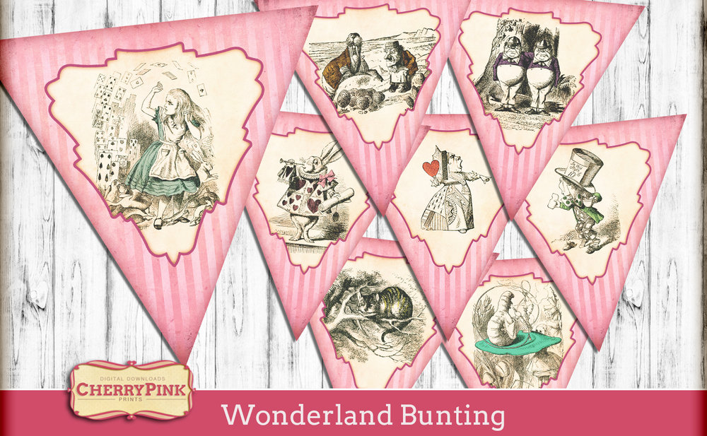 Alice in Wonderland bunting