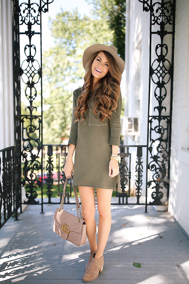 green t-shirt dress gucci marmont handbag booties-4.jpg
