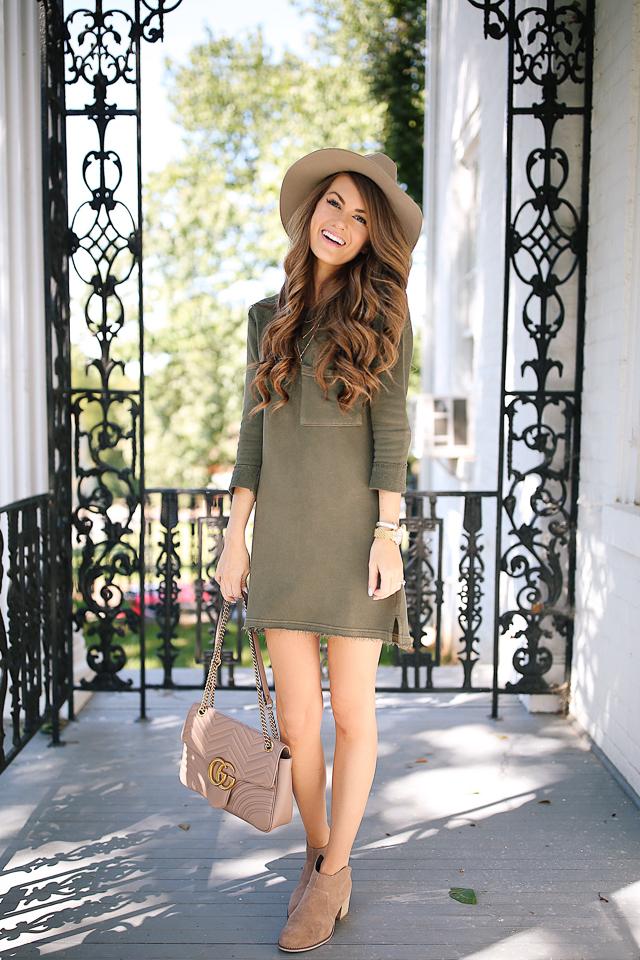 green t-shirt dress gucci marmont handbag booties-4.jpg