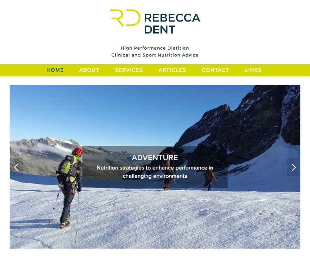 Rebecca Dent: High Performance Dietitian - Rebecca described her previous website as