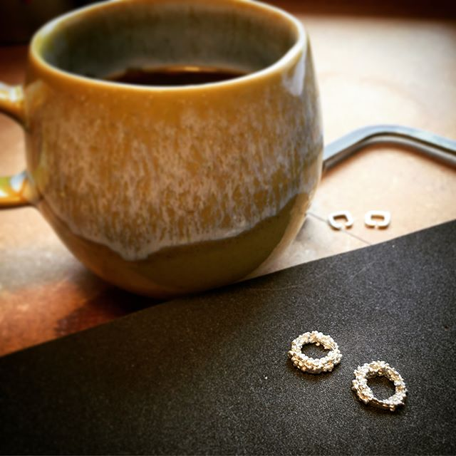 Today is a #WIP day here at HGR HQ.  I tend to design as I make, starting with something as small as these granulated studs, layering and building them as I go.  #granulation #workbench #workinprogress #HGR #handmadejewellery #handmadeinscotland #scottishcraft #silverjewellery #lifeofajeweller