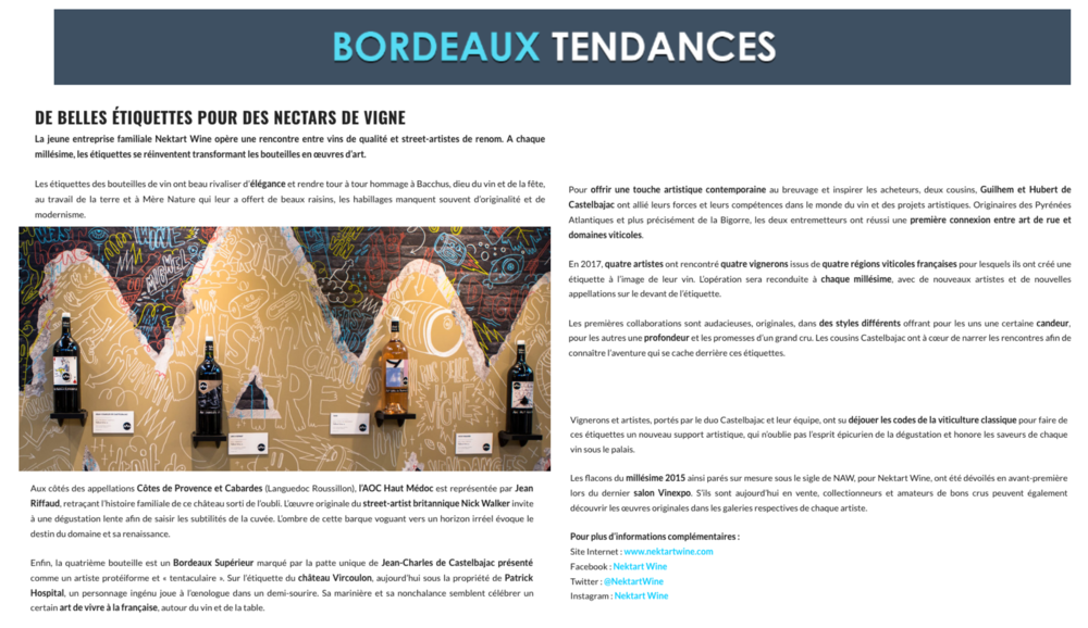 BORDEAUX TENDANCES  October 2017
