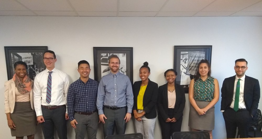 Pictured from left to right: Li Reed, Steven Wittenberg, Mike Kang, Sean Sarcu, Allanah Wynn, Brittney Watkins, Antoinette Bolz, and Nolan Leuthauser