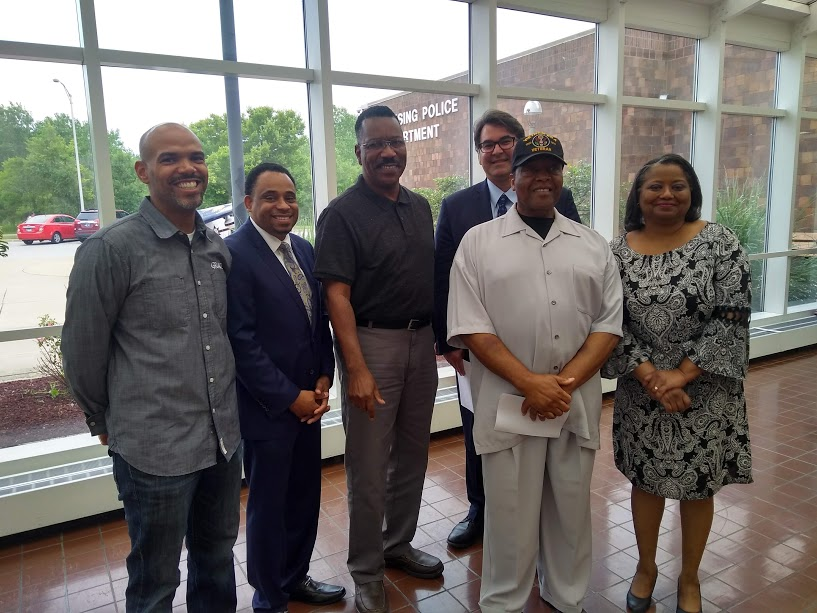 From right to left: Michelle Ford, Rev. David Bigsby, Aneel Chablani, Elvis Slaughter, Don McGruder, and Rev. Leroy Childress negotiated for a final MOU between Lansing Village and Police Department officials, the Lansing Community Coalition, and the South Suburban Branch of the NAACP.
